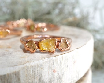 Citrine and Copper Stacking Ring