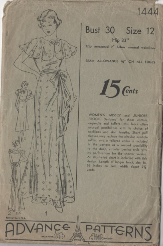 Vintage 1930s Sewing Pattern ART DECO Evening Gown & Cape or