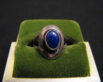Antique Sterling Silver Blue Lapis Lazuli Dome Ring Size 5