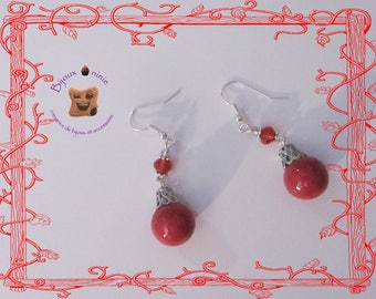 Red Christmas ornament polymer clay earrings