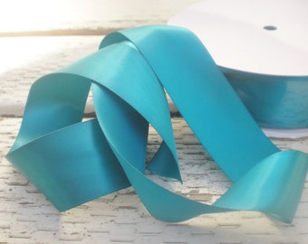 "Teal satin ribbon, 5 yards, double-faced, premium, 1.5"" width"