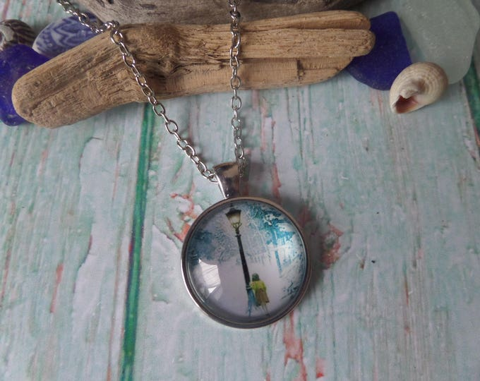 "NARNIA inspired 25mm 1"" glass dome silver 24"" necklace fan gift jewellery ENCHANTED FOREST Uk"