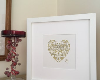 Gold snowflakes, heart of snowflakes Christmas papercut, hand cut, framed, mini snowflakes, gold sparkles