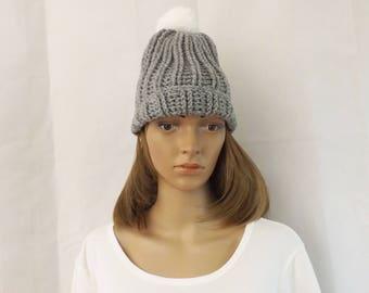 Handmade Crochet Grey Silver Ribbed Beanie Hat with White Bobble Pom Pom