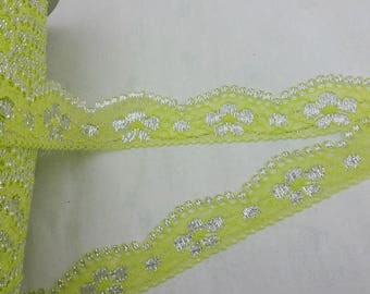 Ribbon lace green lime and silver flowers (x 1 meter)