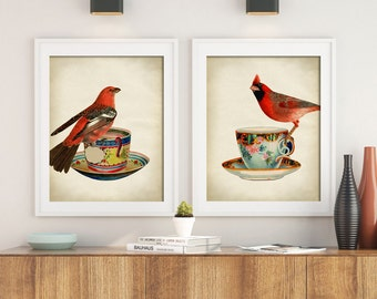 Birds print SET of 2,  bird on a teacup print, bird poster, teacup and bird, bird illustration, bird home decor, bird art