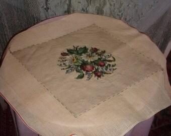 Tapestry antique or vintage handmade, flower bouquet, cushion, bag