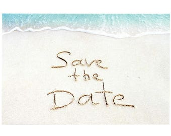 "Sandy Beach - Wedding Save The Date Postcards - 4""x6"""