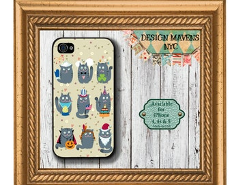 Festive Cats iPhone Case, Cute kitties iPhone Case, iPhone 4, 4s, iPhone 5, 5s, iPhone 5c, iPhone 6, 6s, 6 Plus, SE, iPhone 7, 7 Plus