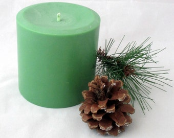 Pine Forest candle 3x3 pillar candle, candle centerpiece, scented soy candle, pillar candle, green candle, decorative candle