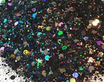Black, Silver Holographic Glitter Mix - Available in 1,2, or 4 oz