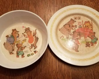 Vintage Oneida Three Bears Child's Plate and Bowl