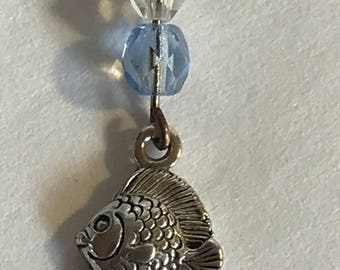 "Sterling Silver Fish and Crystal Pendant on Light 16"" Sterling Chain"
