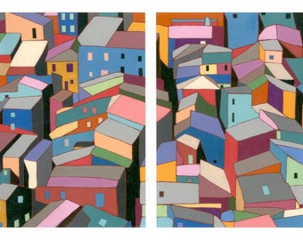 Colorful Rooftops: GICLEE print of original acrylic diptych painting on canvas abstract geometric architectural Italian hill town