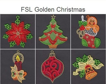 FSL Golden Christmas Free Standing Lace Machine Embroidery Designs Instant Download 4x4 hoop 10 designs APE2323