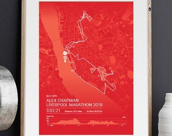 Liverpool Personalised Marathon Poster / Memento / Gift / Art Print / Route / Map