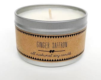 GINGER SAFFRON // Soy Candle Gift for Her Clean Candle Laundry Room Decor Spring Candle Fresh Candle Spring Cleaning