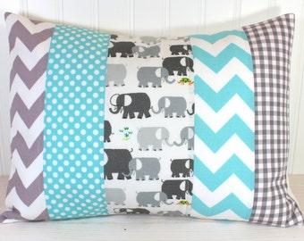 Elephant Pillow Cover, Nursery Decor, Cushion Cover, Throw Pillows, Decorative Pillows, 12 x 16, Elephants, Gray, Grey, Aqua, Blue, White