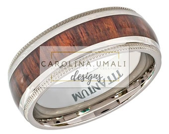 Personalized  Rosewood Inlaid TITANIUM Ring 8mm