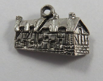 3 D House of Anne Hathaway's house (wife of William Shakespeare), located in England Sterling Silver Charm or Pendant.