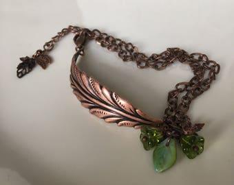 Vintage Copper Leaf Cuff Bracelet Beaded  Green Czech Flowers Bracelet Handmade