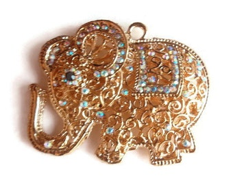 1 Elephant Pendant, Large Hollow, Jewelry Making Supply, Christmas Gift, Crystal AB colored Rhinestones & Gold Color alloy Metal