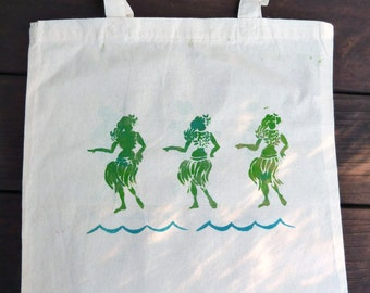 Hula Girls Tote Bag-Hand Stamped-One of a Kind