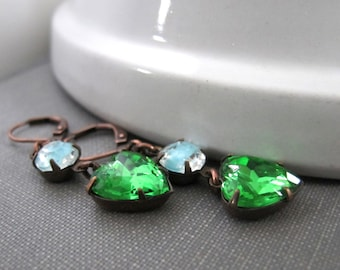 Emerald Earrings, Glass Heart Earrings, Peridot Green, Aqua Blue Glass, Copper Earrings, Vintage Glass, Glass Heart Charms, Old World Charm,