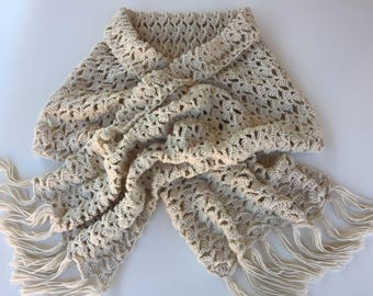 READY TO SHIP/Crochet Scarf Wrap/Knit Knitted Shawl/Wrap/Off White/Extra Long/Wide/Knit/Adult/Ladies/Blanket Scarf/Scarf with Fringe/Tassels