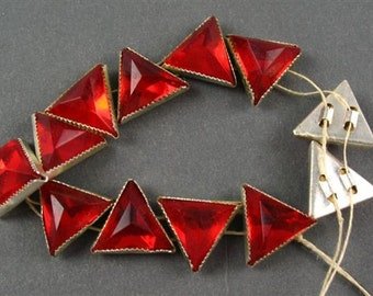 Vintage Triangle  Rose Montees - RARE - Red in Silver Setting