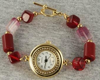Ravishing Red Handmade Bead Watch