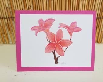 Set of six hand drawn greeting cards pink plumeria