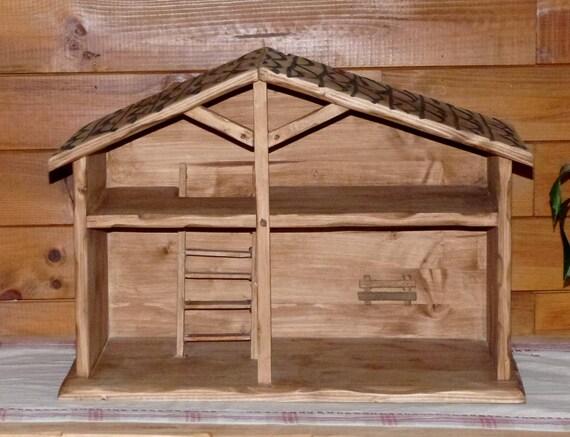 Crèche de Noel artisanale en bois deco chalet montagne