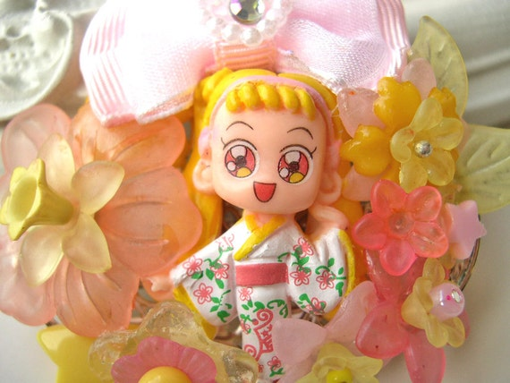 Hair Clip kawaii fairy kei lolita accessory manga girl kanzashi pink yellow