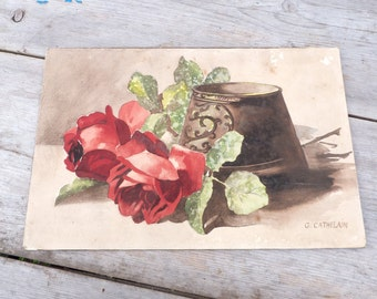Antique 1900/1930 French watercolor original Flowers /still life