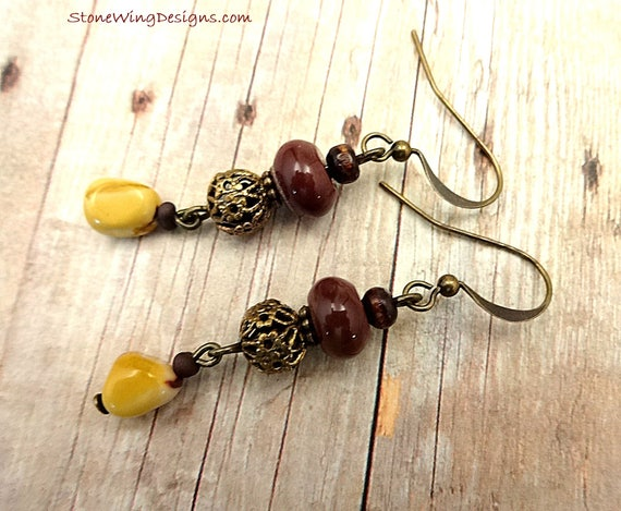Bohemian Mookaite and Yellow Jasper Earrings