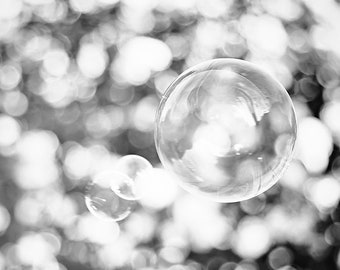 Black and White, Bubbles Photography Print, Bathroom Decor, Laundry Room, Bath, Sparkle, Modern Abstract Photo, Home Design, Bubbles Art