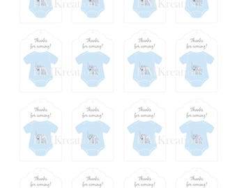 Elephant Baby Onesie Gift Tags Blue Gray Thank You Tags Party Favor Tags Baby Shower DIY Tags Baby Boy Shower Printable Tags Digital Files