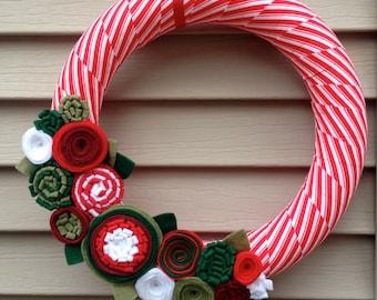 Christmas Wreath, Modern Wreath, Holiday Wreath, Candy Cane Wreath, Christmas Striped Ribbon Wreath, Felt Flower Wreath, Ribbon Wreath