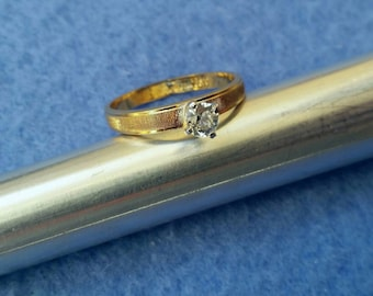 Vintage Esposito Solitaire Engagement Ring 18KT HGE size 8.25, signed Espo ring, gold plated faux diamond ring