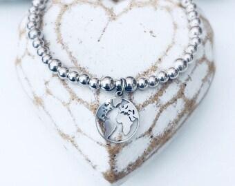 """Sterling Silver """"WANDERLUST"""" ATLAS World MAP Charm Bracelet"""