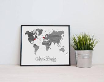 World Map Love Wedding Gift Personalized Custom Location Modern Art Print Long Distance Map Art Engagement Bridal Shower Gift