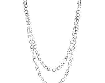 Long black chain, long layering chain, simple chain necklace, long chain necklace, Moncrieff necklace, oxidised silver circles necklace.