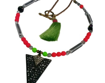 Geometric Bright Colorful Swarovski Uv Glow Bead Necklace Crystal Triangle Pendant