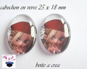 2 cabochons glass 25mm x 18mm miss caberet Red theme