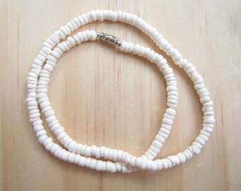 White Puka Shell Necklace-White Puka Shell Choker Necklace-Puka Bead Necklace-Jewelry-Beach Jewelry-Sea Shell Jewelry-Sea Shell Necklace