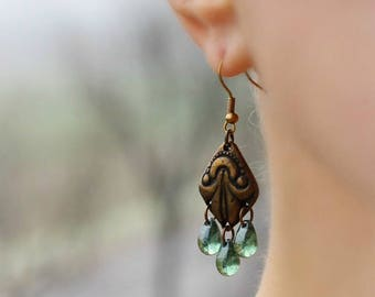 Brass Drop Earrings Boho Earrings Drop Dangle Earrings Green Drop Earrings Ethnic Earrings Brass Boho Jewelry Gypsy Hippie Brass Jewelry