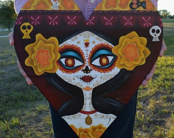 Sugar Skull-Day Of The Dead-Art-Pallet Board-Pallet Wall Art-The Book Of Life-La Muerte-Decor-Dia De Los Muertos-Skull-Reclaimed Wood-