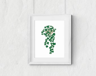 Green ivy - houseplant illustration - printable wall art - nursery decor - plant decor - green plant - digital wall decor - INSTANT DOWNLOAD