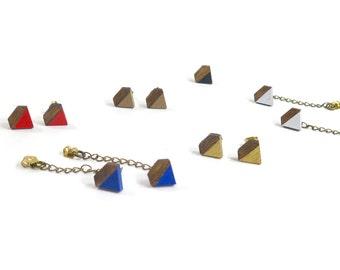 Diamond Stud Earrings/ Lasercut Wood Shape/ Painted/ Dipped Color/ Stud Earrings/ Chain Optional